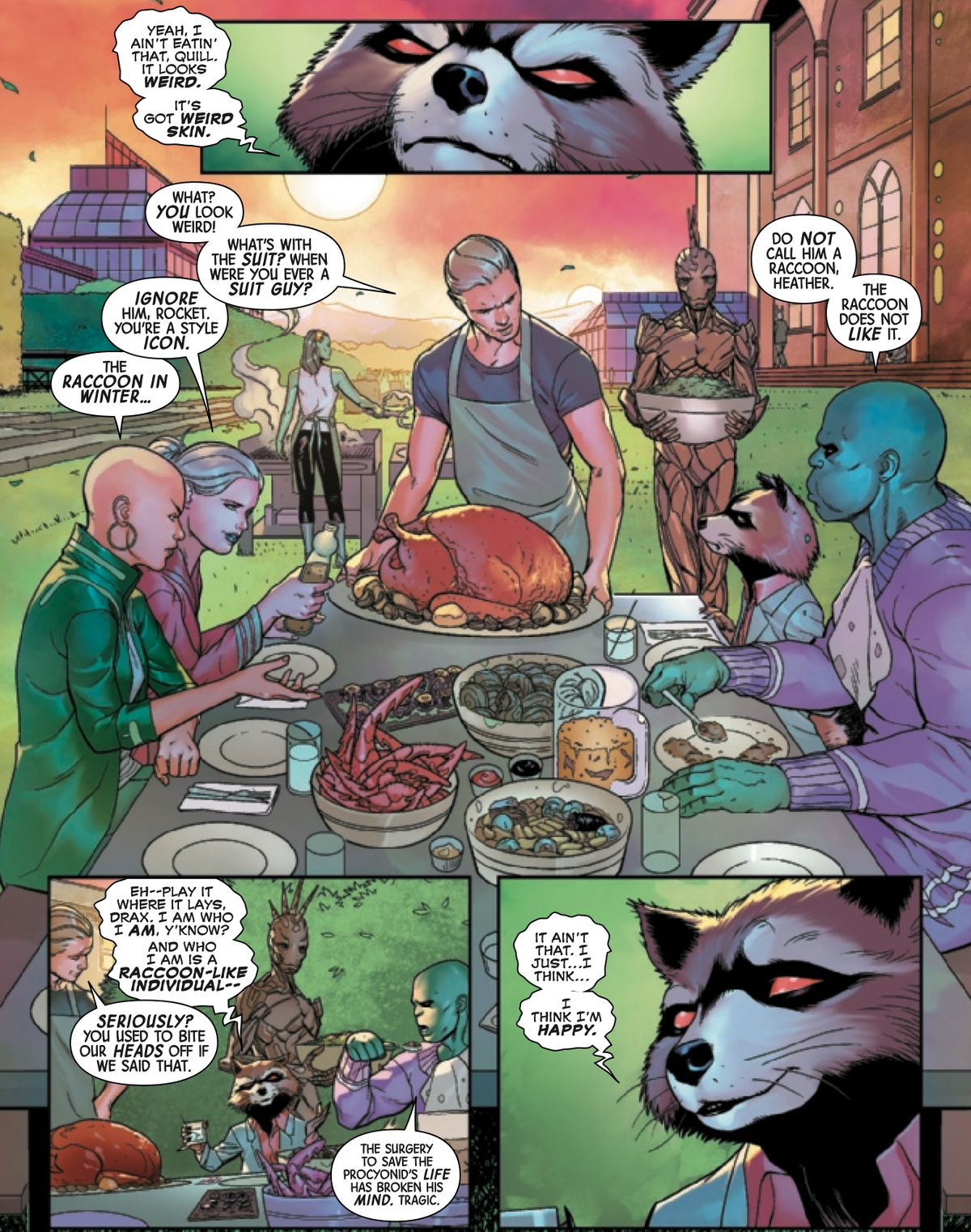 The Guardians of the Galaxy share a family meal in Star-Lord and Gamora's backyard in Guardians of the Galaxy #1, Marvel Comics (2020).