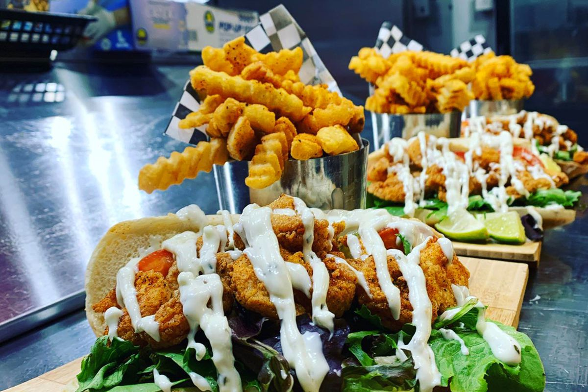 Fried fish sandwiches on the Creole-inspired menu at Catchers Fish House, coming to the westside this fall.