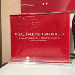 Final sale return policy