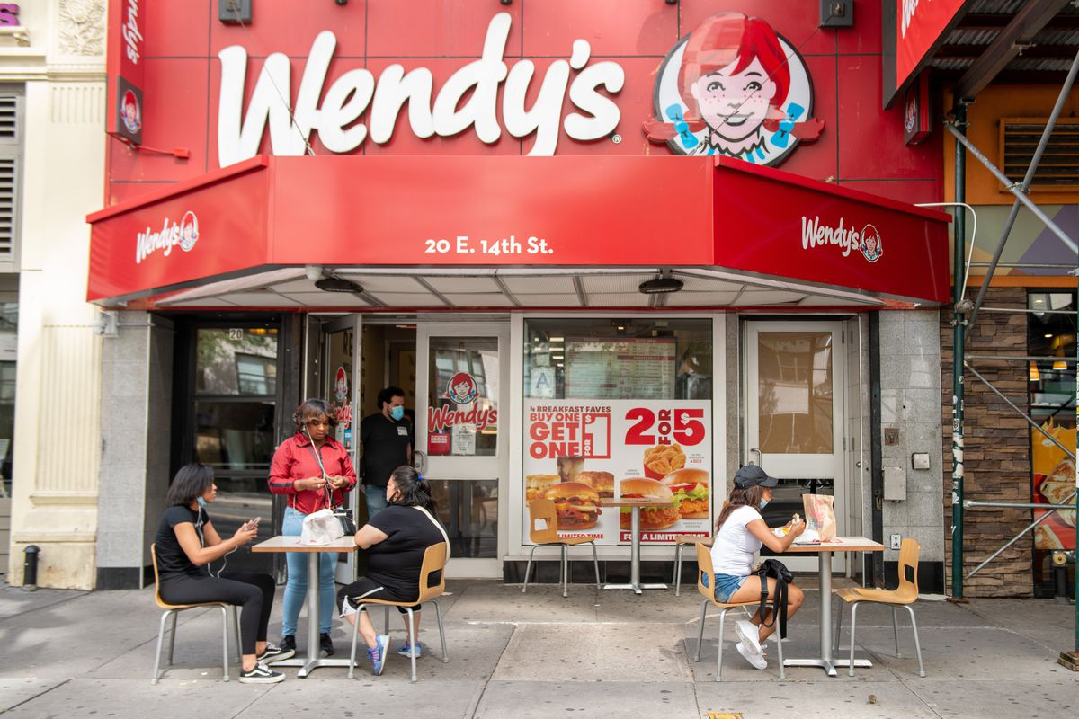 The outside of a New York City Wendy's burger restaurant, as it prepares to open its first U.K. restaurant in over two decades