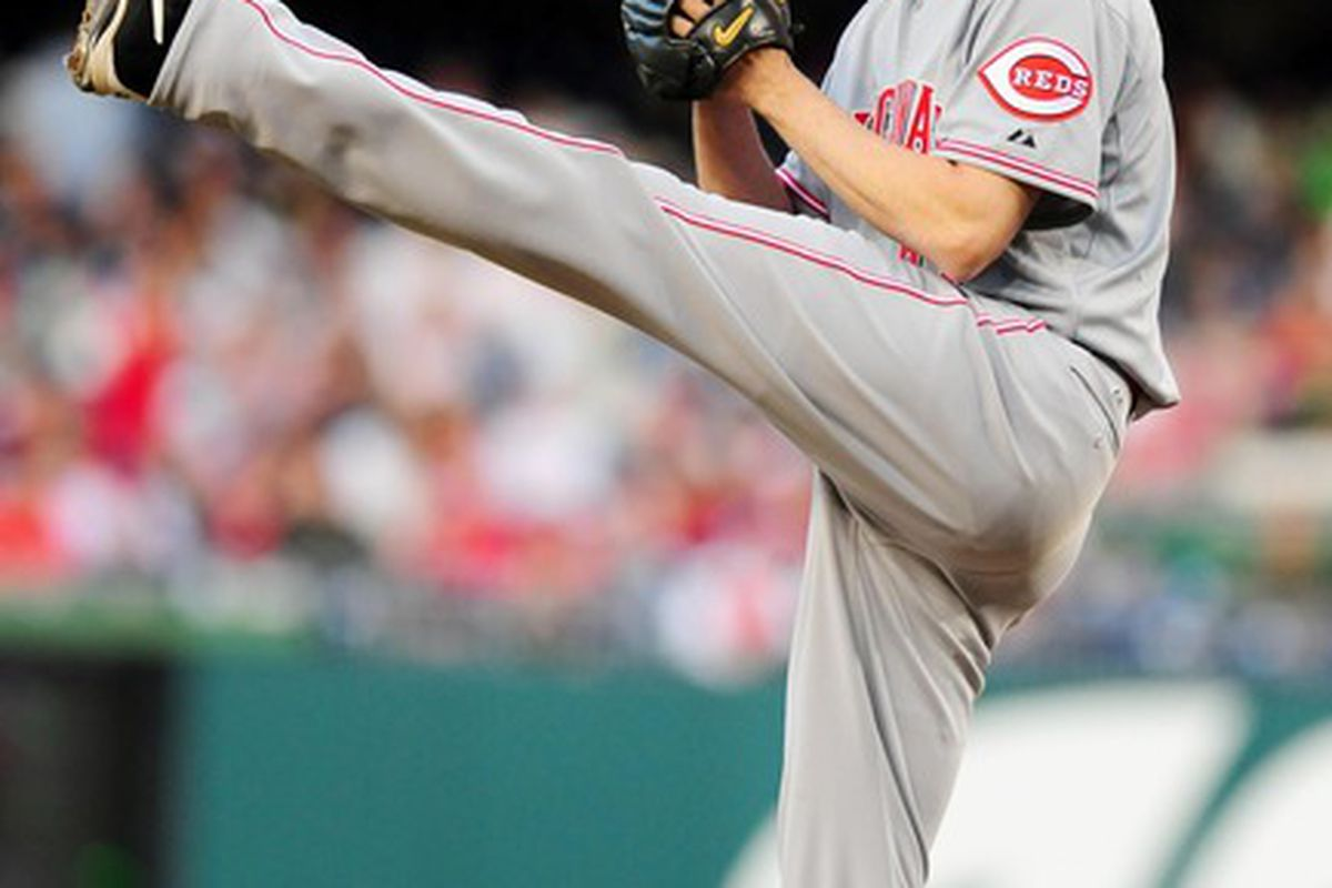 April 13, 2012;Washington, D.C., USA; Cincinnati Reds pitcher Bronson Arroyo (61) throws a pitch in the first inning against the Washington Nationals at Nationals Park.  Mandatory Credit: Evan Habeeb-US PRESSWIRE