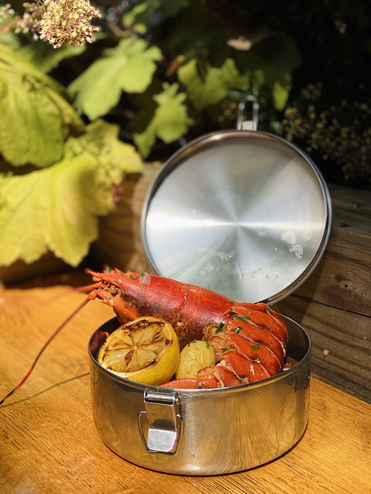 A lobster boil special ($36) includes a 1 1/4-lb. lobster, Portuguese sausage, potatoes, and corn.