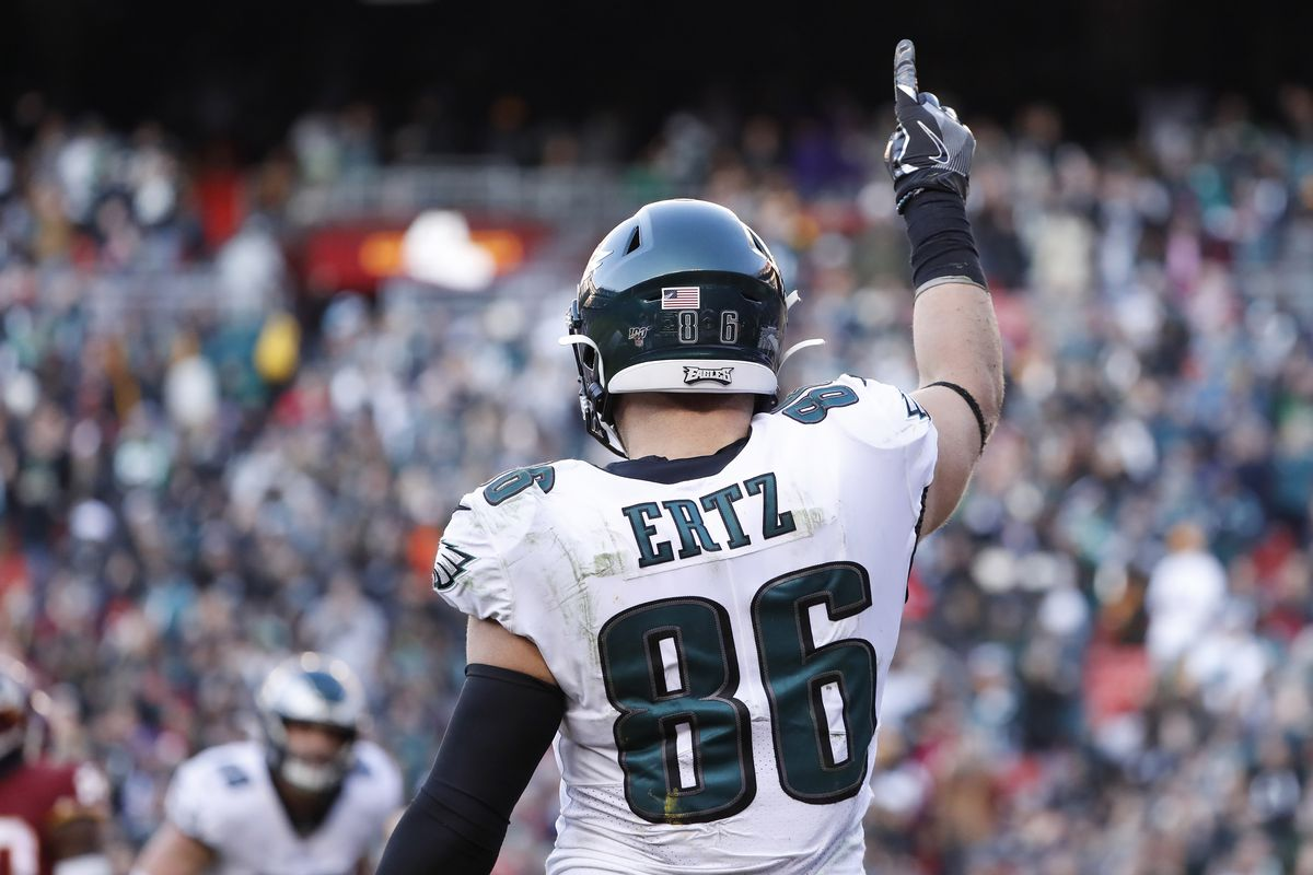Philadelphia Eagles tight end Zach Ertz celebrates after scoring a touchdown against the Washington Redskins in the fourth quarter at FedEx Field.