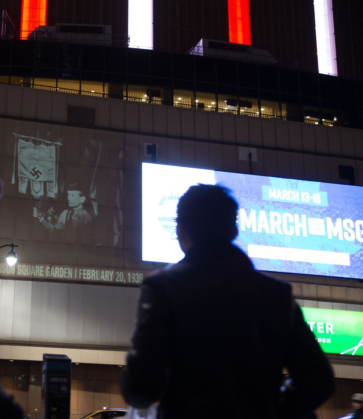 A Night at the Garden is projected onto the side of Madison Square Garden on February 18, two days before the 80th anniversary of the rally.