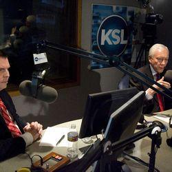 Dan Liljenquist and Sen. Orrin Hatch participate in a debate at KSL in Salt Lake City, Utah,  on Friday, June 15, 2012.