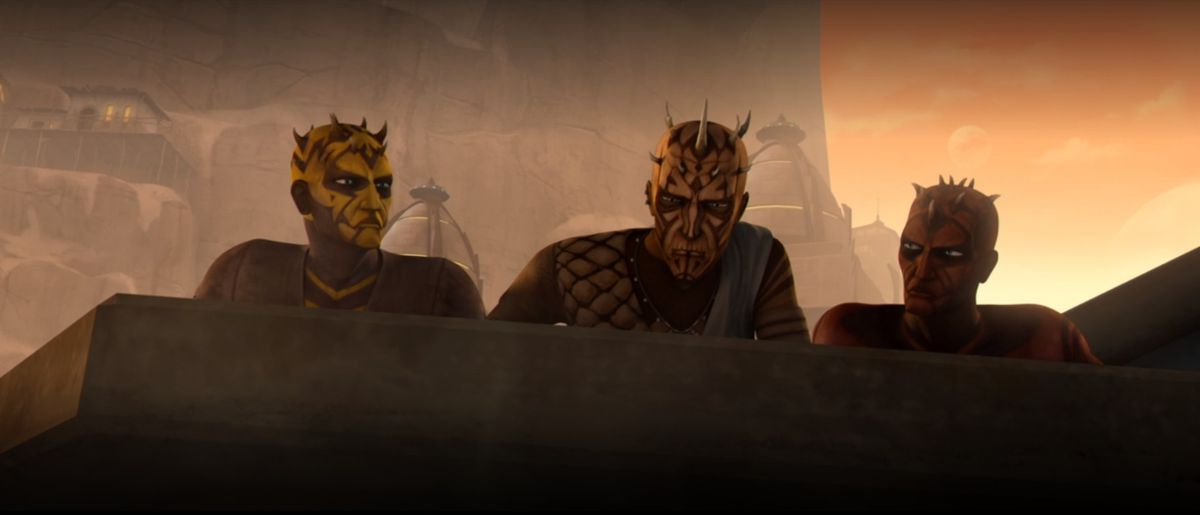 Three Nightbrothers look over a rooftop as two Jedi walk into their village in Star Wars: The Clone Wars
