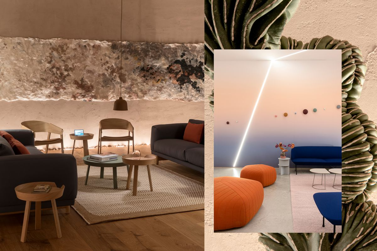 A collage of a living room with textured walls, a wool tapestry, dim lighting, wood floors, and gray sofas; a living room with gradient wallpaper, orange poufs, blue sofas, and a pastel pink rug