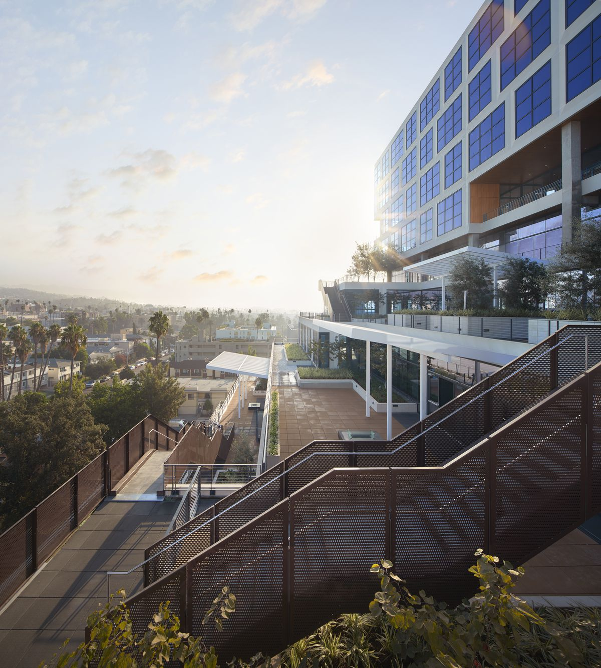 A rendering of terraces and staircases off the exterior of the building.