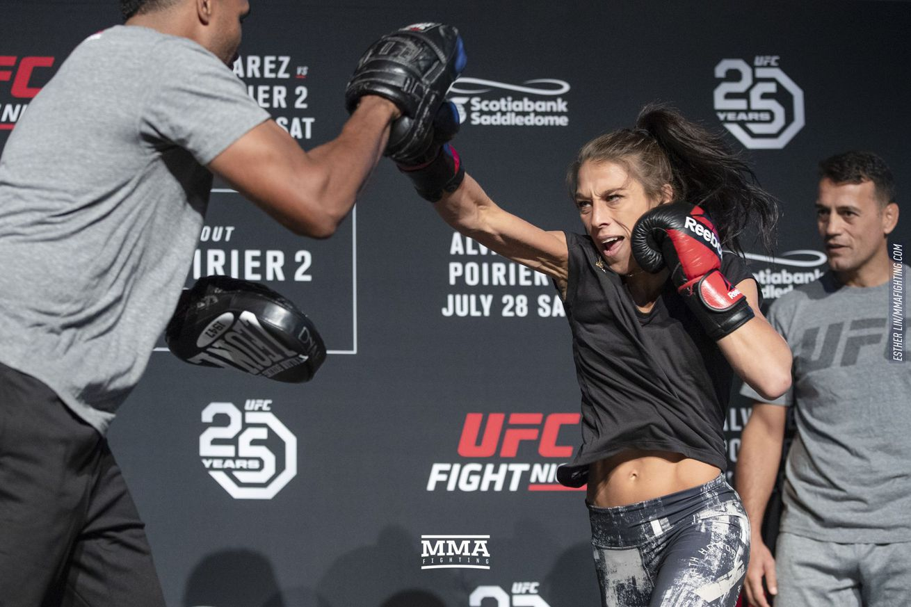 Joanna Jedrzejczyk at the UFC on FOX 30 open workouts in Calgary, Alberta
