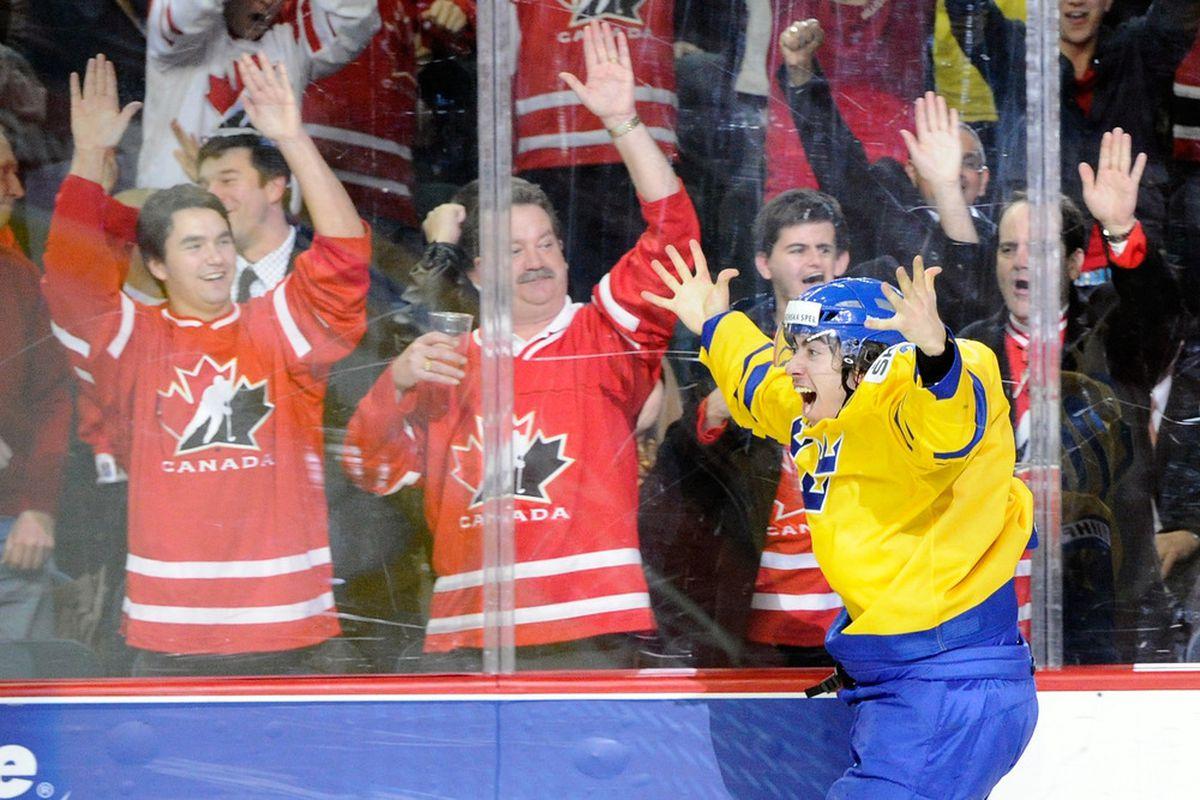 Mika Zibanejad is shown celebrating his #1 ranking among Ottawa Senators prospects. (Photo by Richard Wolowicz/Getty Images)