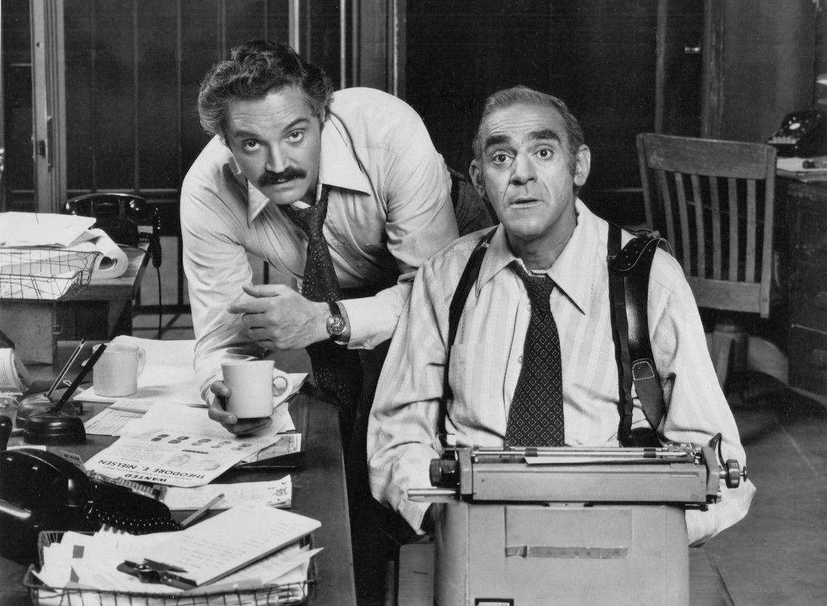 """Actors Hal Linden (left) and the late Abe Vigoda in """"Barney Miller."""""""