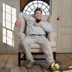 """In this photo taken Feb. 1, 2012, Bronson Pinchot poses for photos at his home in Harford, Pa.  Pinchot, best known for his starring role on the 1980's sitcom """"Perfect Strangers,"""" is back on TV with a new show about restoring his historic Pennsylvania homes. The show, """"The Bronson Pinchot Project,"""" premiered this month on the DIY cable network."""