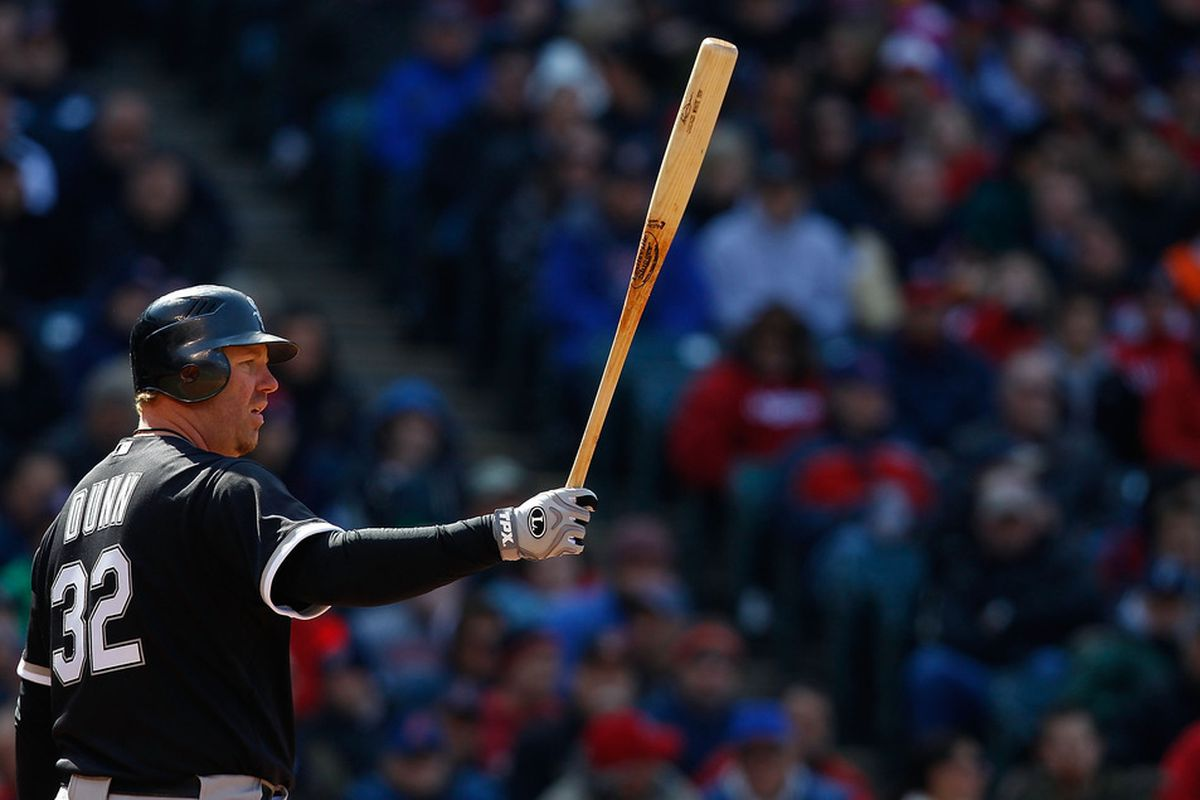 New Chicago White Sox designated hitter Adam Dunn is expected to be out of the lineup for at least five days after an emergency appendectomy on Tuesday.  (Photo by Jared Wickerham/Getty Images)