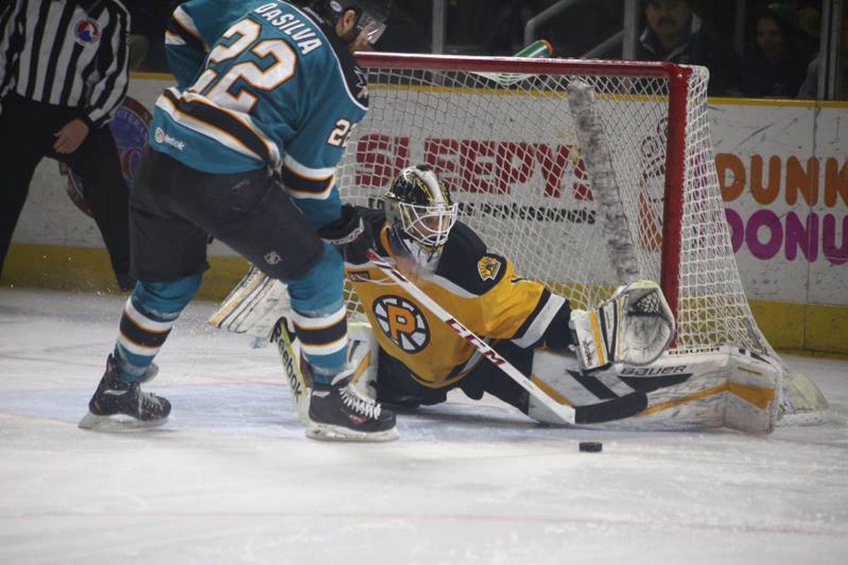 Worcester Sharks forward Dan DaSilva is stopped by Providence Bruins goaltender Niklas Svedberg in the shootout Friday night at the Dunkin Donuts Center.