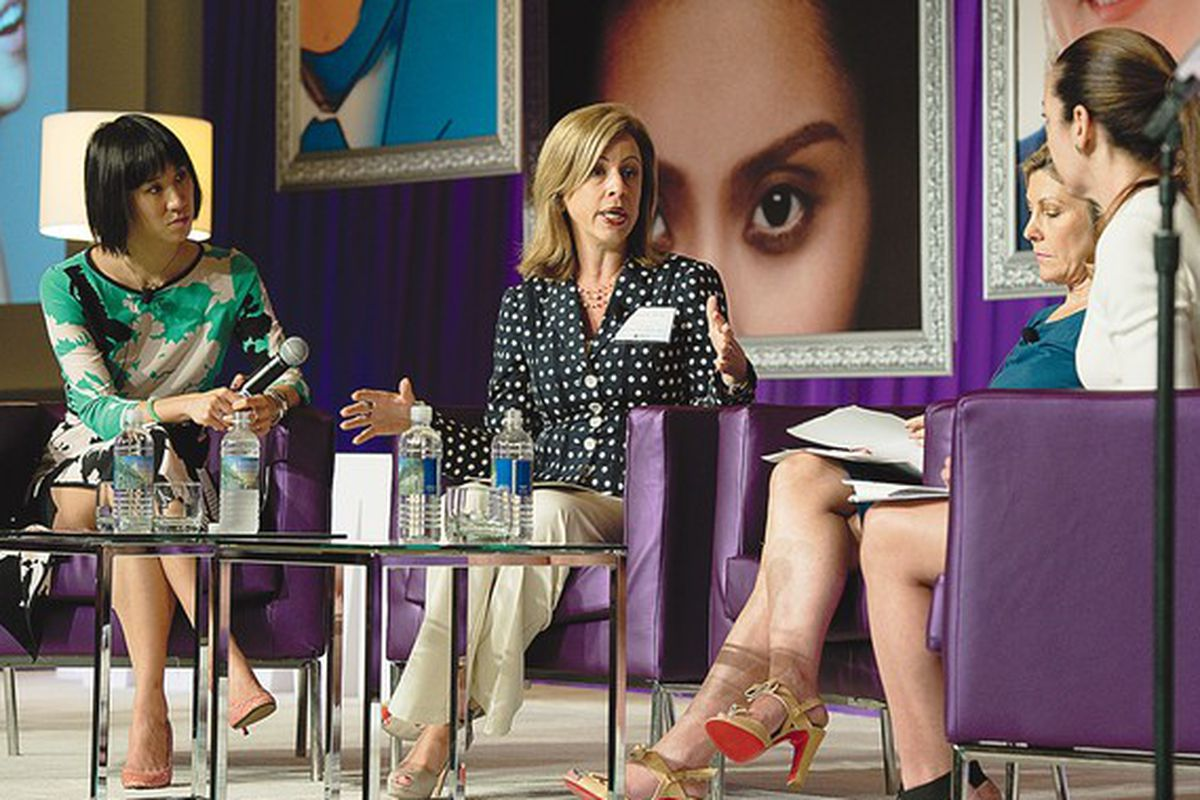 """Teen Vogue's Eva Chen, More magazine EIC Lesley Jane Seymour, Univision's Graciela Eleta, and Beauty Inc. editor Jenny B. Fine at a summit panel on Emerging Demographics. Image via <a href=""""http://www.wwd.com/beauty-industry-news/marketing-trends/be"""