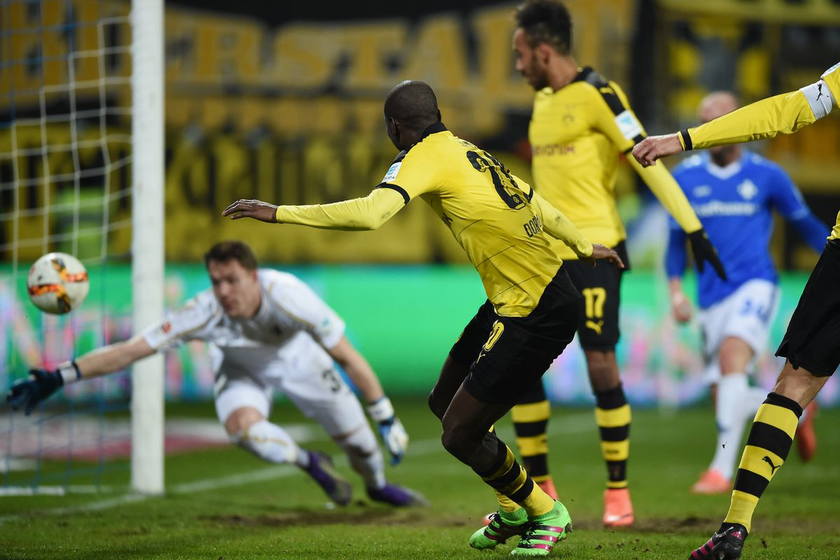 Ramos connects with the rebound to give Dortmund the 1-0 lead.