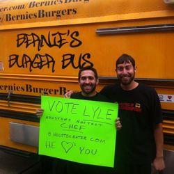 In front of Bernie's Burger Bus.