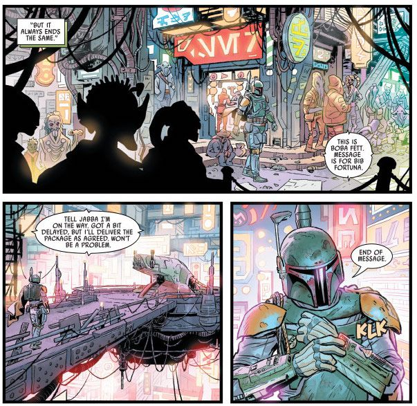 Boba Fett walks through a bustling alien marketplace glowing with neon signs to his ship in Star Wars: War of the Bounty Hunters #1, (2021).