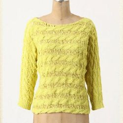 """<a href=""""http://www.anthropologie.com/anthro/product/23956402.jsp?color=072"""">Tape yarn pullover</a>, $29.95 (was $98)"""