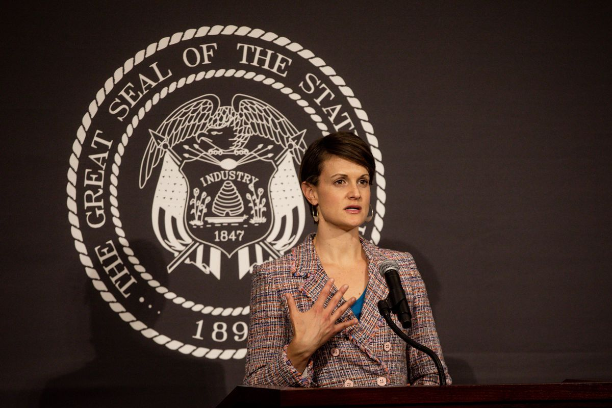 Dr. Angela Dunn, state epidemiologist with the Utah Department of Health, speaks at the daily COVID-19 media briefing at the Capitol in Salt Lake City on Monday, May 4, 2020.