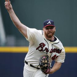 Atlanta Braves pitcher Tommy Hanson delivers to the Washington Nationals during the first inning of a baseball game Saturday, Sept. 15, 2012, in Atlanta.