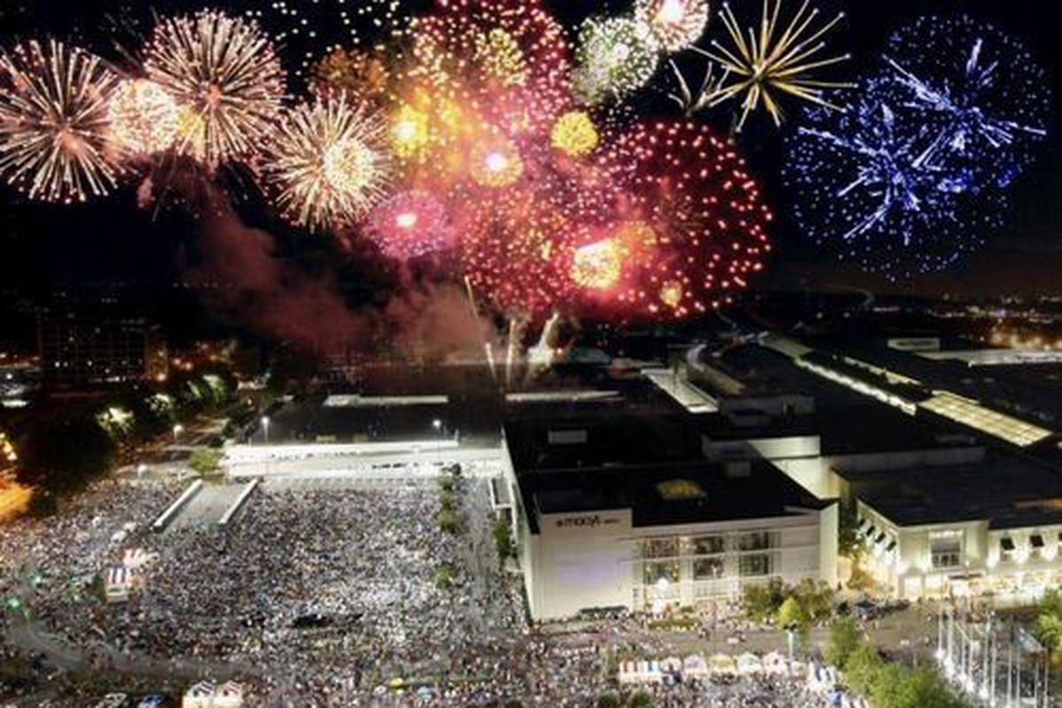 A photo of the longstanding fireworks show at Atlanta's Lenox Square mall.
