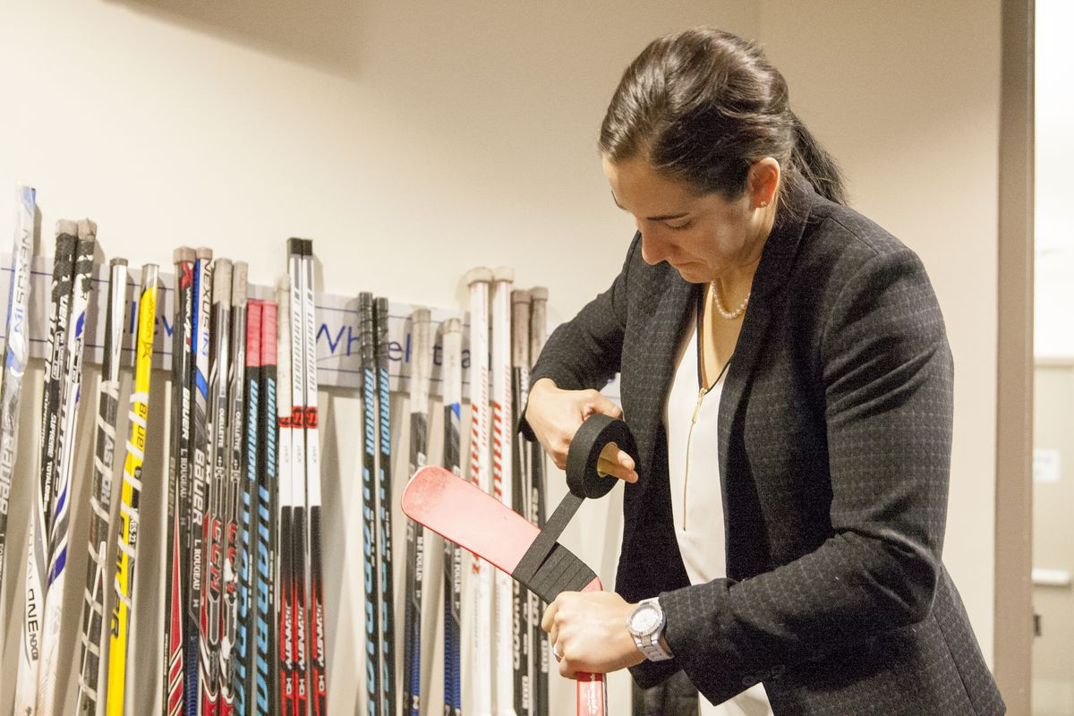 Caroline Ouellette tapes her stick prior to the 2015-16 CWHL All-Star Game