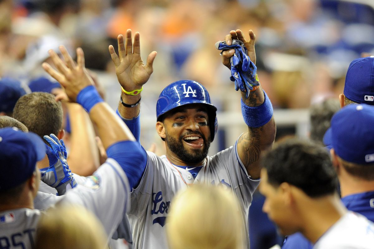 Matt Kemp is hoping to continue his feasting on left-handed pitching.  Mandatory Credit: Steve Mitchell-US PRESSWIRE