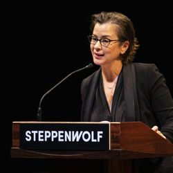 Anna Shapiro, artistic director of Steppenwolf Theatre, speaks during a presentation unveiling plans for a campus expansion and new theater building on Halsted Street, Tuesday, March 5, 2019. | Ashlee Rezin/Sun-Times