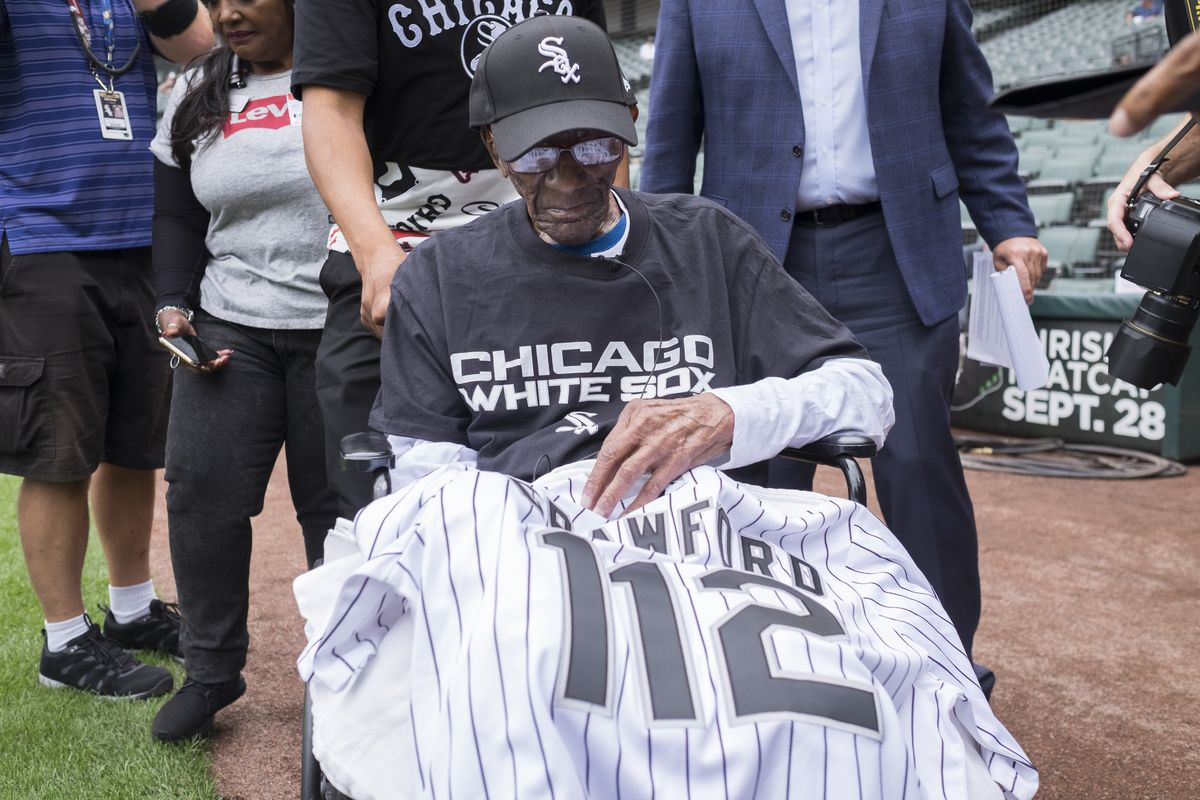 CP Crawford, 112 years old, at his first White Sox game at Guaranteed Rate Field.