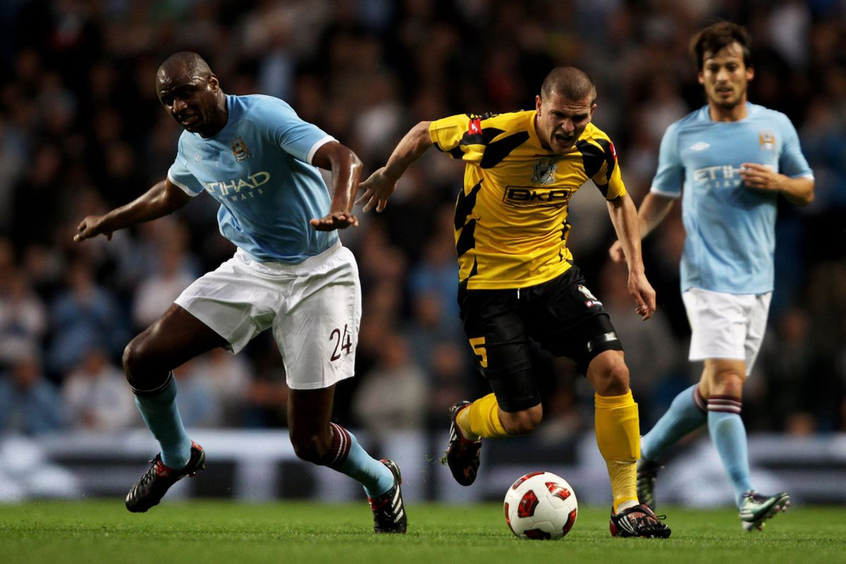 MANCHESTER, ENGLAND - AUGUST 26: Patrick Vieira during the Europa League playoff second leg tie against FC Timisoara at the City of Manchester Stadium on August 26 2010 in Manchester, England. Photo by Clive Brunskill/Getty Images