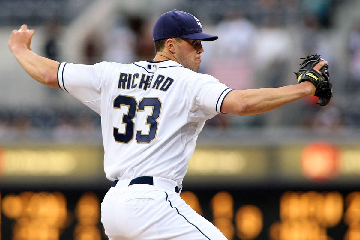 Apr 24, 2012; San Diego, CA, USA; San Diego Padres starting pitcher Clayton Richard (33) pitches against the Washington Nationals during the first inning at PETCO Park.  Mandatory Credit: Jake Roth-US PRESSWIRE
