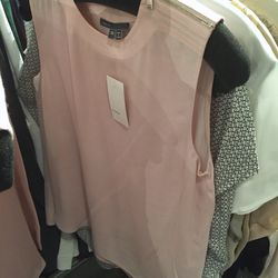 Sleeveless pink blouse with zipper detail, $79 (was $195)