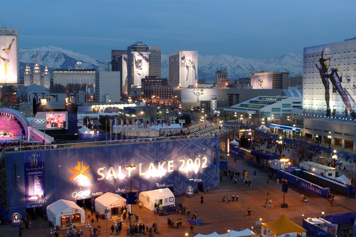 View of Salt Lake City from KSL, during Olympics on Feb. 21, 2002