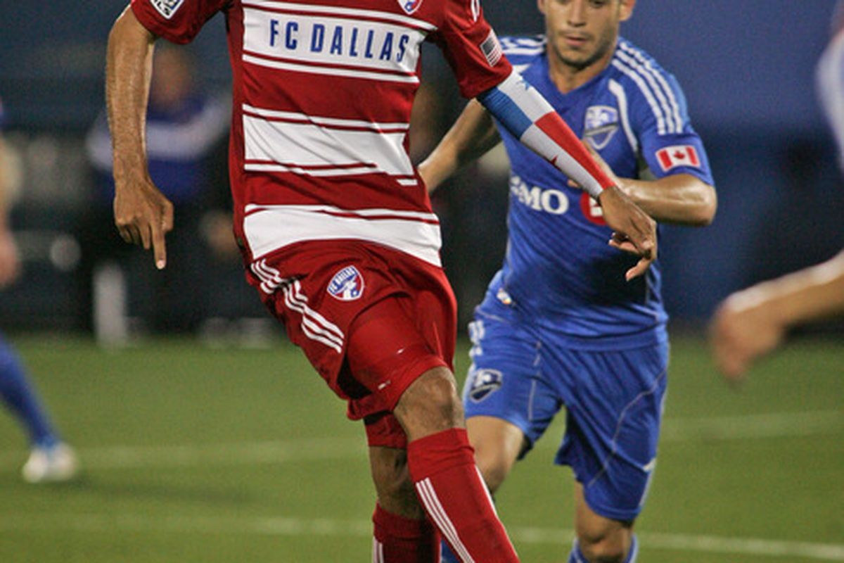 FRISCO, TX - APRIL 14:   Blas Perez #9 of FC Dallas controls the ball against the Montreal Impact at FC Dallas Stadium on April 14, 2012 in Frisco, Texas.  Dallas defeated Montreal 2-1.  (Photo by Brett Deering/Getty Images)