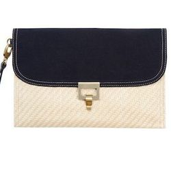 Look 21: Straw and Canvas Clutch in Cream, $29.99