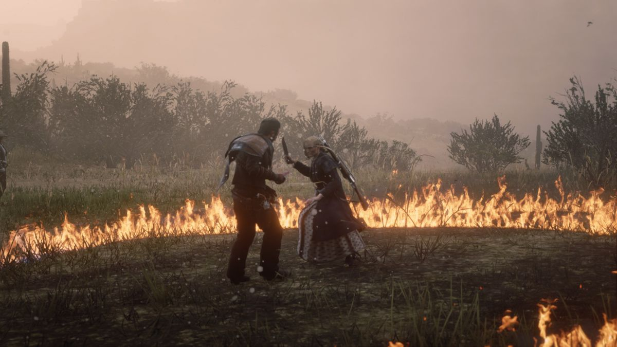 Red Dead Online - Two cowboys, a man and a woman, fight with knives on the open planes.  They are surrounded by a fire.