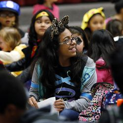 Students get ready for the Breakfast in the Classroom program at Backman Elementary School in Salt Lake City on Friday, Oct. 28, 2016. At center is Evelyn Gonzalez.