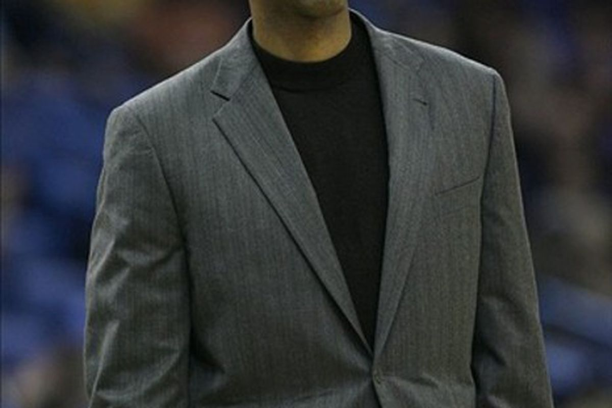 March 2, 2012; New Orleans, LA, USA; New Orleans Hornets head coach Monty Williams calls a play against the Dallas Mavericks during the first half of a game at the New Orleans Arena.   Mandatory Credit: Tyler Kaufman-US PRESSWIRE
