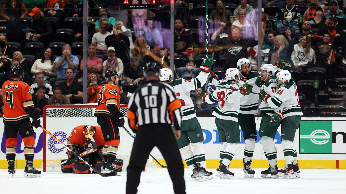 Marcus Foligno #17 of the Minnesota Wild celebrates a goal against the Anaheim Ducks in the third period at Honda Center on October 15, 2021 in Anaheim, California.