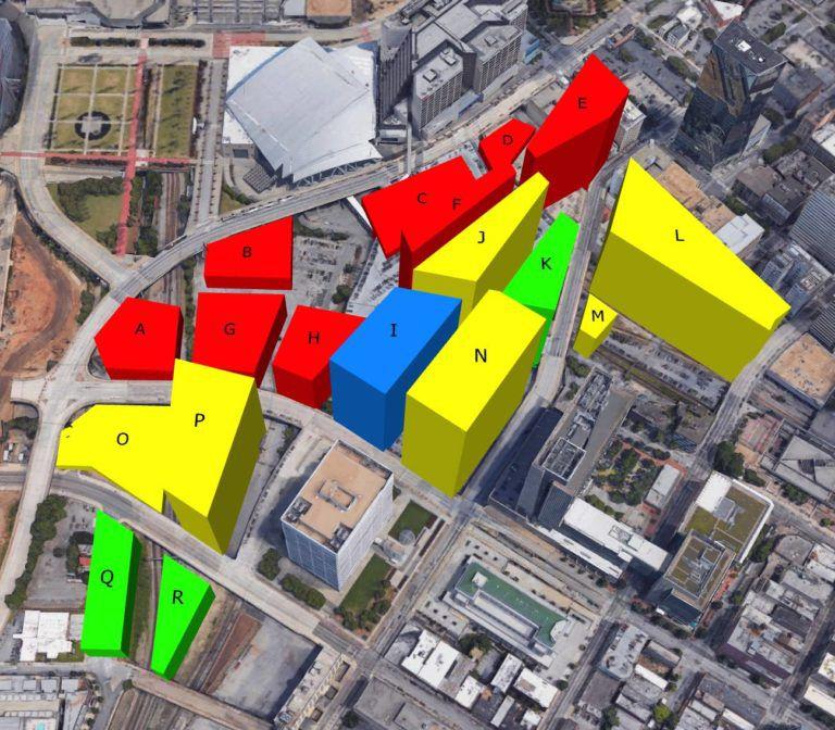 An aerial rendering of Gulch development in Atlanta.