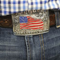 Donald Trump Jr. wears a Trump belt buckle as he meets with congressional candidate Burgess Owens and volunteers at Colonial Flag in Sandy on Thursday, July 23, 2020.