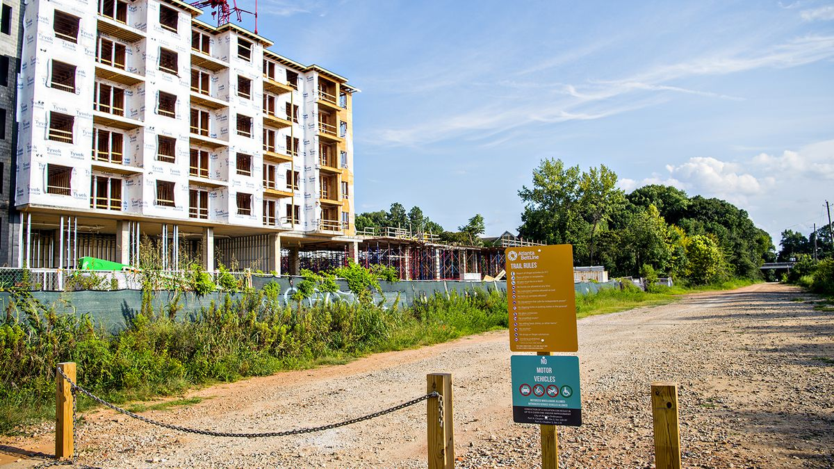 Apartment construction at left meets the new Southside Trail corridor.