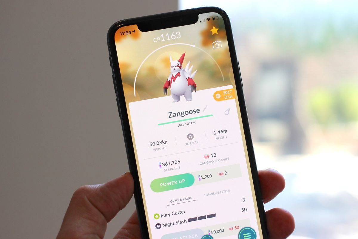 A photo of Zangoose in Pokemon Go on an iPhone X