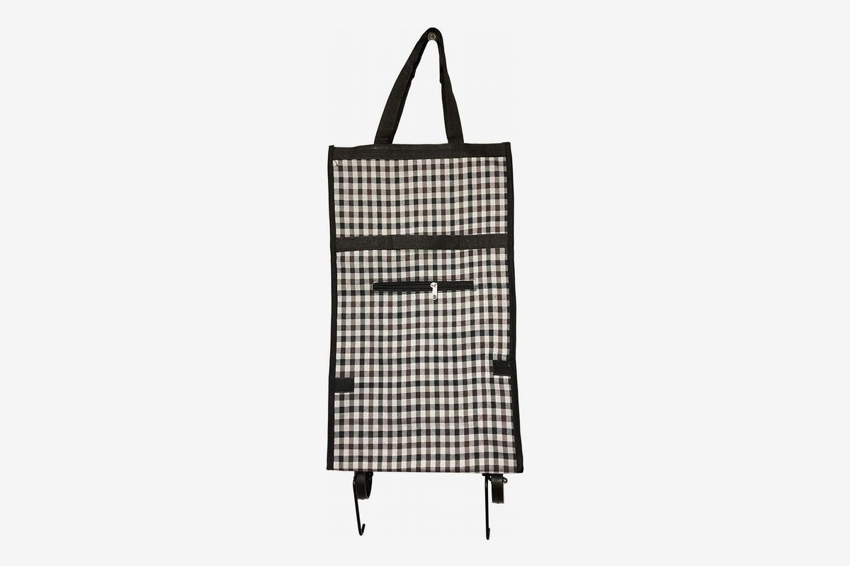A foldable shopping cart trolley bag in a gingham pattern