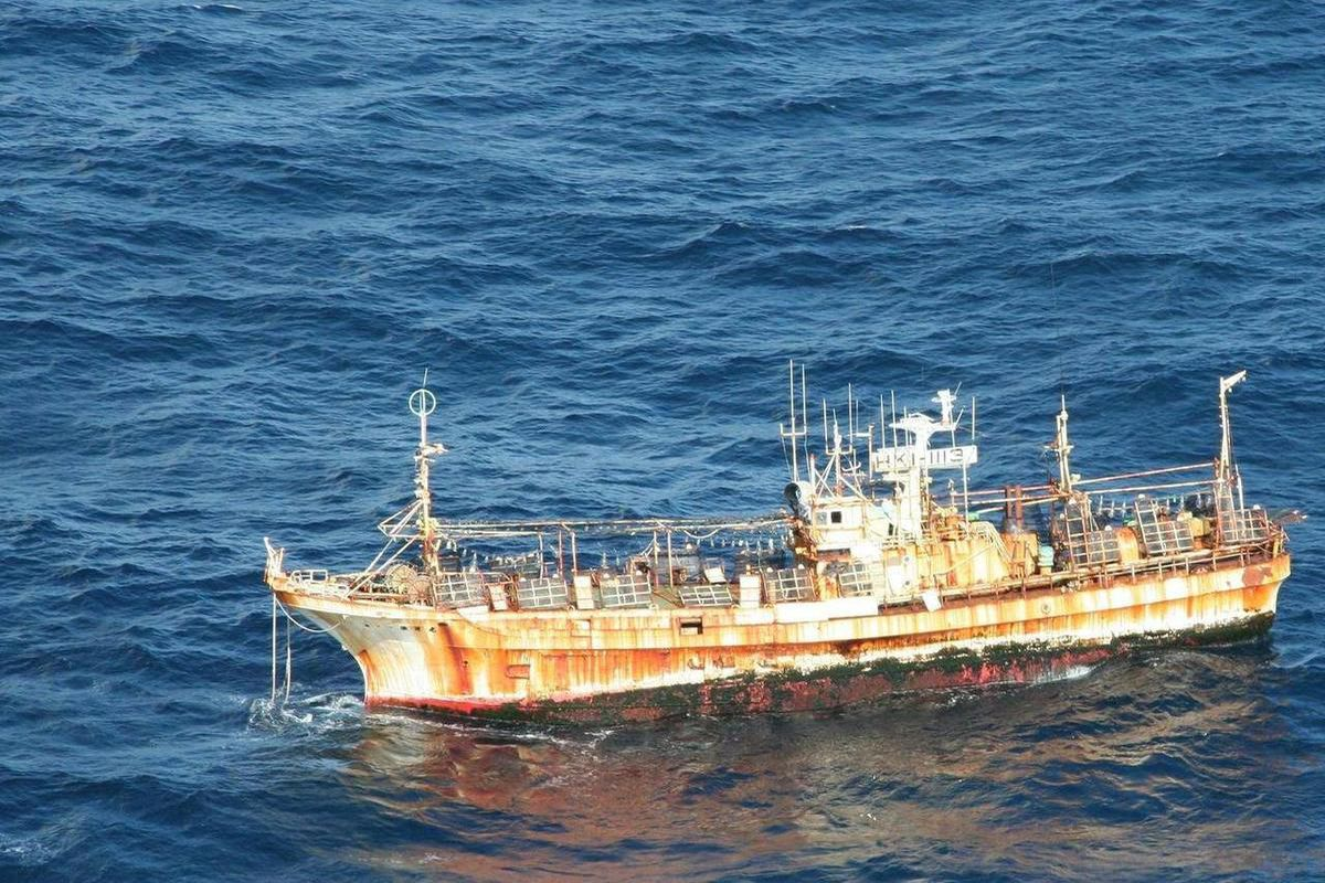 In this photo provided by the U.S. Coast Guard, the derelict Japanese fishing vessel RYOU-UN MARU drifts more than 125 miles from Forrester Island in southeast Alaska where it entered U.S. waters March 31, 2012. The vessel has been adrift since it was lau