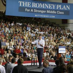 Republican presidential candidate and former Massachusetts Gov. Mitt Romney speaks to supporters during a rally Friday, Sept. 21, 2012, in Las Vegas.