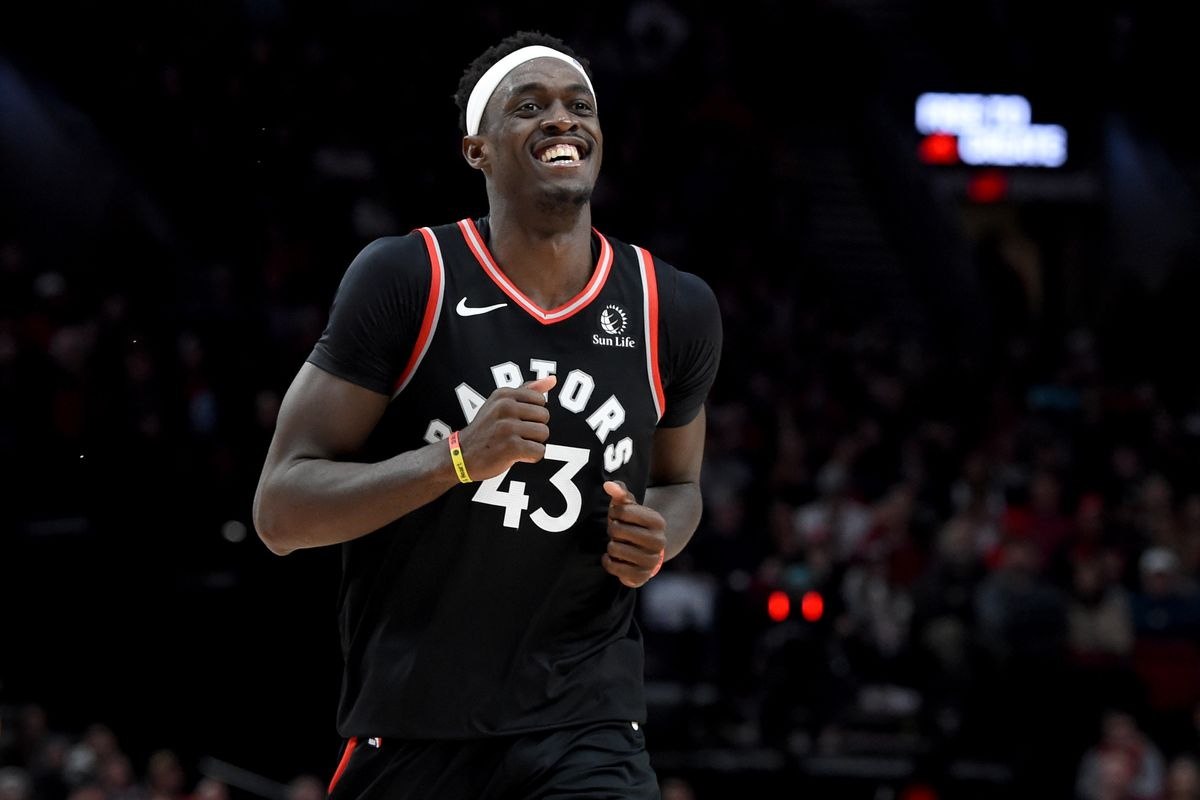 Toronto Raptors forward Pascal Siakam reacts after making a basket late against the Portland Trail Blazers during the second half at Moda Center. The Raptors won 114-106.