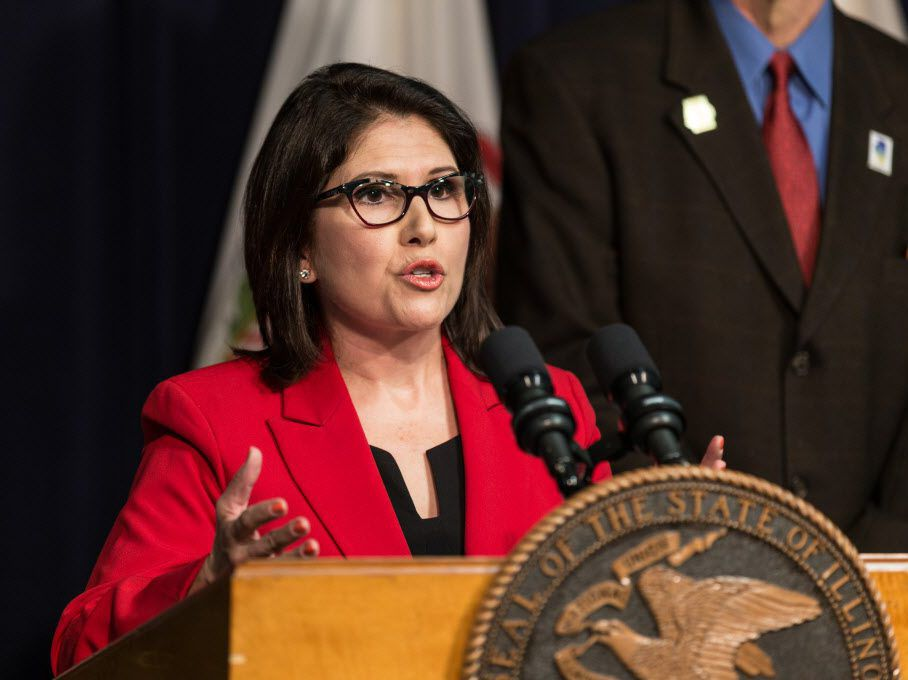 Former Lt. Gov. Evelyn Sanguinetti at the James R. Thompson Center in April. File Photo. | Erin Brown/Sun-Times