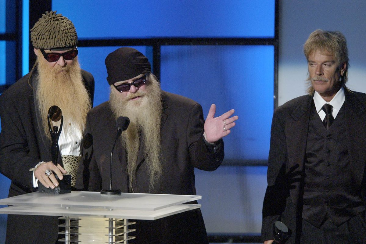 The group ZZ Top, including Billy Gibbons (from left) Dusty Hill and Frank Beard, accepts its induction award during the 19th Annual Rock and Roll Hall of Fame Induction Ceremony on March 15, 2004 in New York.